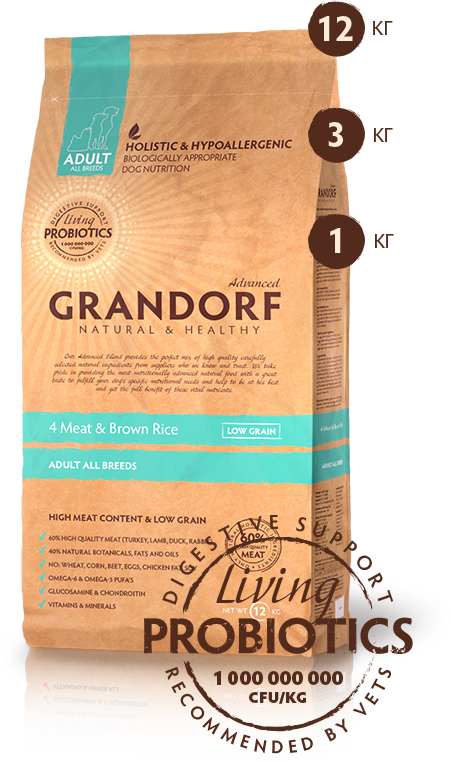 Grandorf (4 вида мяса) 4 Meat & Brown Rice (ADULT ALL BREEDS), 12 кг