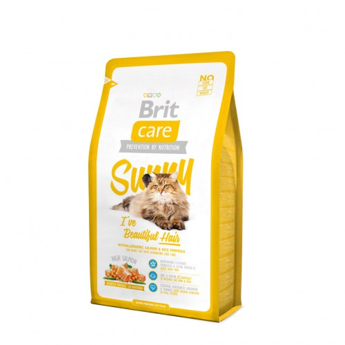 Brit Care Cat Sunny Beautiful Hair Salmon & Rice. Для длинношерстных кошек.